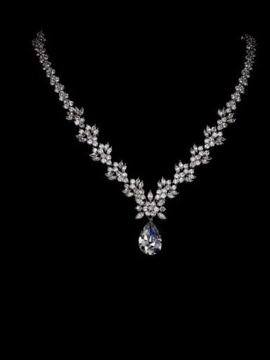 Copper Cubic Zirconia Water Drop Luxury Necklace