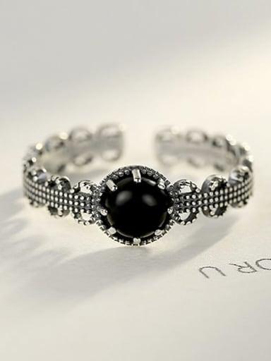Black 10H02 925 Sterling Silver Agate Black Geometric Vintage Band Ring