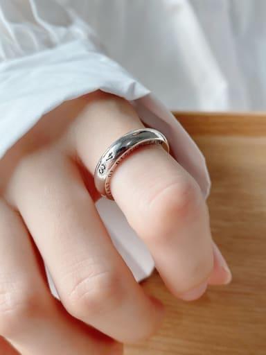 925 Sterling Silver Letter Vintage Band Ring