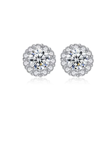 925 Sterling Silver Cubic Zirconia White Round Trend Stud Earring