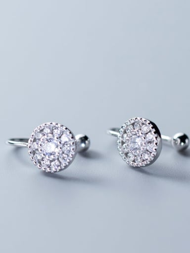 925 Sterling Silver Cubic Zirconia  Round Minimalist Clip Earring
