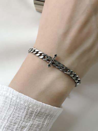 925 Sterling Silver Cross Vintage Link Bracelet