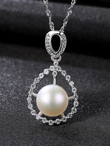 White 6D04 925 Sterling Silver 3A Zircon Freshwater Pearl Pendant Necklace