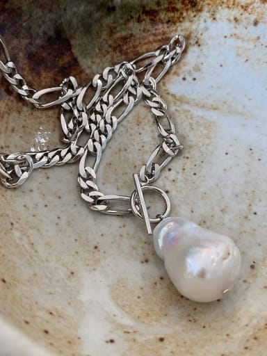 925 Sterling Silver Special Shaped Bead Thick Chain Ot Necklace