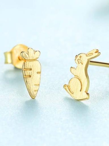 925 Sterling Silver  Minimalist  Cartoon  cute bunny radish Stud Earring