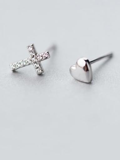 925 Sterling Silver Rhinestone Asymmetry cross Heart Minimalist Stud Earring