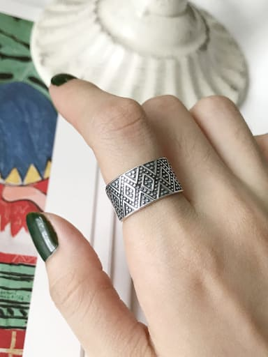 925 Sterling Silver Geometric Vintage Free Size Band Ring