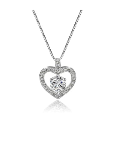 Copper Cubic Zirconia  Minimalist Heart   Pendant necklace
