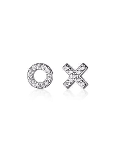 925 Sterling Silver Rhinestone Cross Minimalist Stud Earring