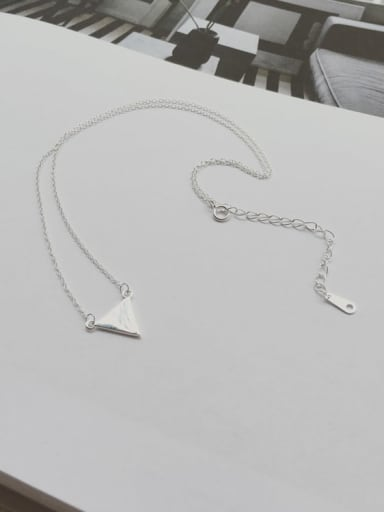 925 Sterling Silver Smooth Regular Triangle Chain  Necklace