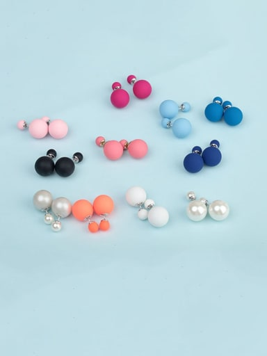 Copper Imitation Pearl Enamel  Round Ball Minimalist Stud Earring
