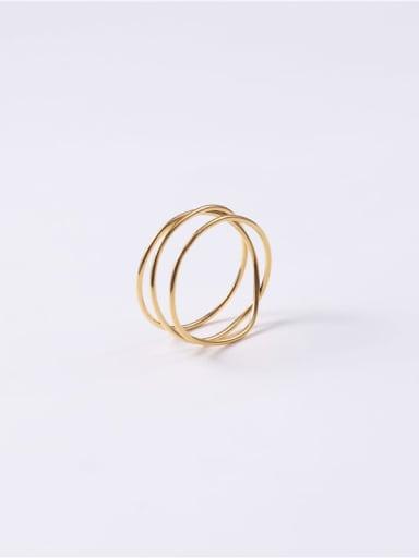 Gold 7 A56 Titanium Round Minimalist Midi Ring