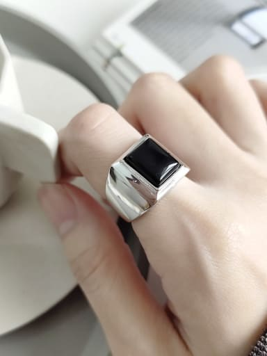925 Sterling Silver Carnelian Black Square Minimalist Free Size Band Ring