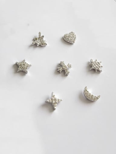 925 Sterling Silver Cubic Zirconia White Star Minimalist Stud Earring