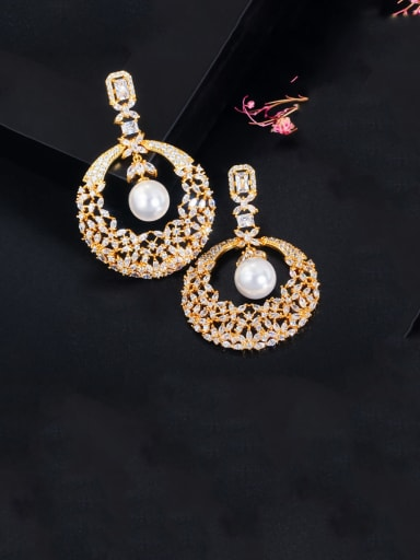 gold Copper With Gold Plated Luxury Hollow Round Cluster Earrings