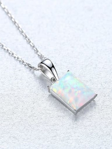 White 20F04 925 Sterling Silver Blue Opal simple Square Pendant Necklace