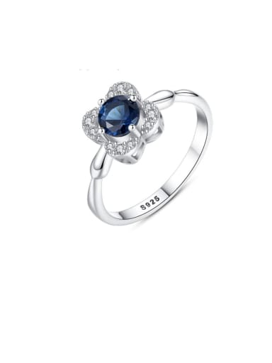 925 Sterling Silver Cubic Zirconia Blue Flower Luxury Band Ring