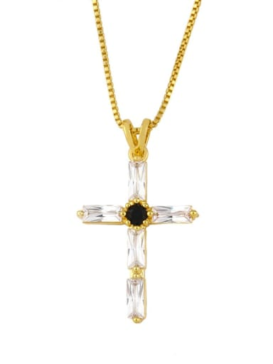cross Brass Cubic Zirconia Geometric Minimalist Regligious Necklace