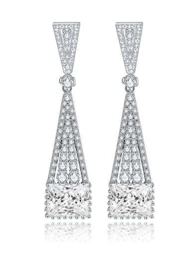 Copper Cubic Zirconia Triangle Luxury Drop Earring
