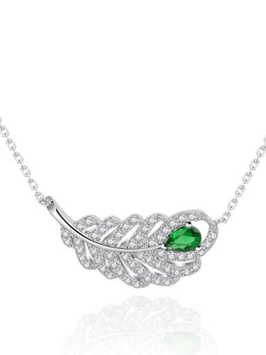 Copper Cubic Zirconia Hollow Leaf Luxury Necklace