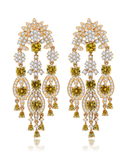 Copper  Luxury Cubic Zirconia Flower Chandelier Earring