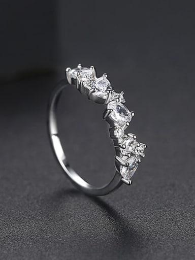 Platinum US 7 Copper Cubic Zirconia Irregular Minimalist Band Ring
