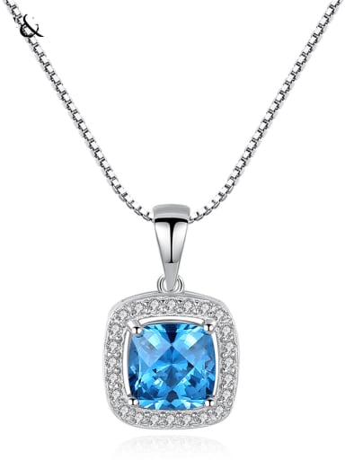 925 Sterling Silver Cubic Zirconia simple Square Pendant Necklace