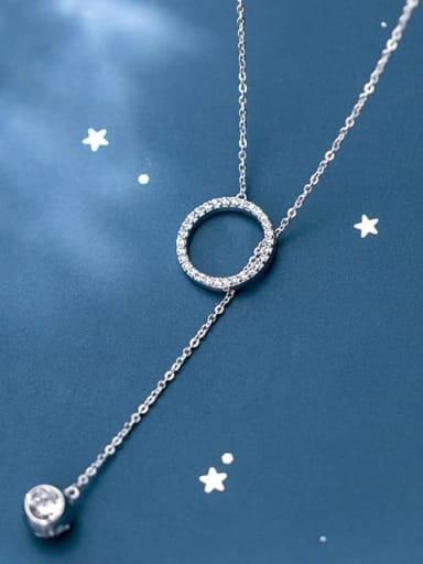 925 Sterling Silver Rhinestone White Round Minimalist Lariat Necklace