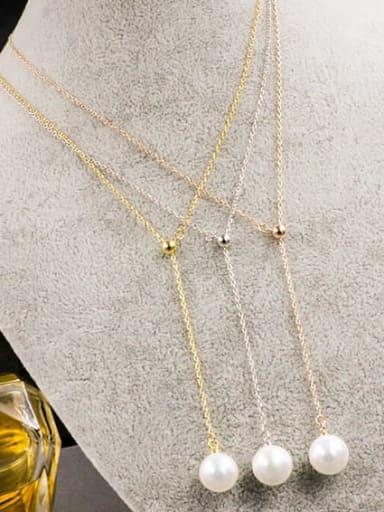 Titanium Imitation Pearl White Round Minimalist Lariat Necklace