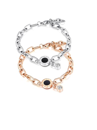 Titanium Cubic Zirconia Black Enamel Round Minimalist Bracelets