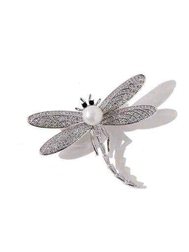 silvery Copper Cubic Zirconia White Dragonfly Luxury Brooches