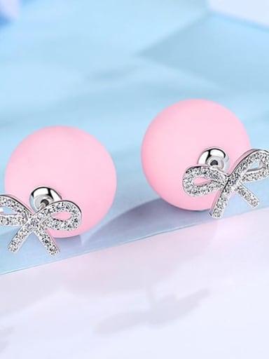 Pink platinum t04b18 Copper Cubic Zirconia Bowknot Cute Stud Earring