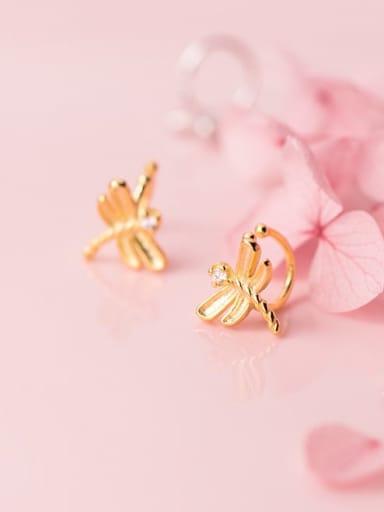 925 Sterling Silver Rhinestone Dragonfly Cute Clip Earring