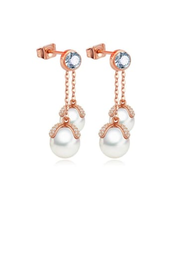 Copper Cubic Zirconia Round Shell beads Trend Chandelier Earring