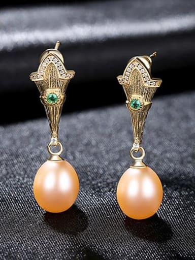 Powder 3h04 925 Sterling Silver Freshwater Pearl  Irregular Vintage Drop Earring