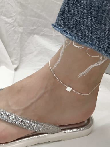 925 Sterling Silver  Minimalist  Smooth Square  Anklet