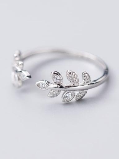 925 Sterling Silver Rhinestone  Leaf Minimalist Band Ring