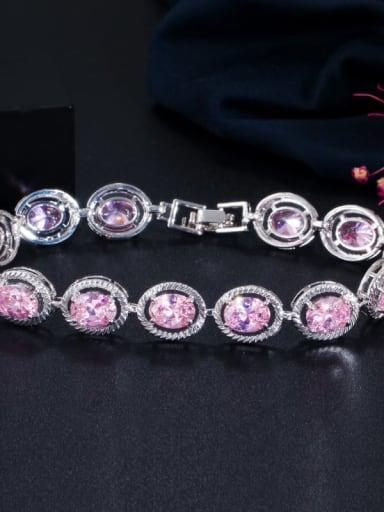 Pink Copper Cubic Zirconia Geometric Minimalist Bracelet