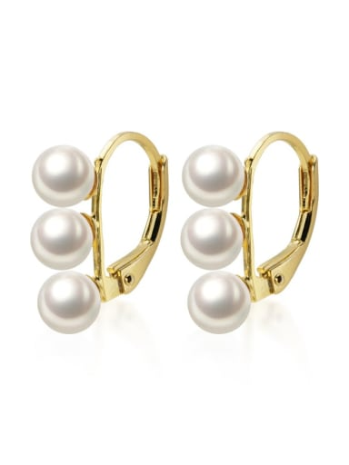 925 Sterling Silver Imitation Pearl  Irregular Minimalist Huggie Earring