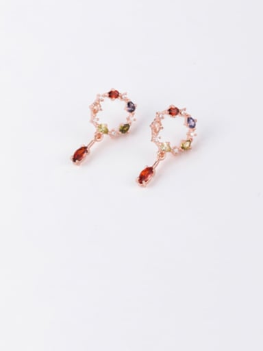 Copper Cubic Zirconia Multi Color Round Minimalist Stud Earring