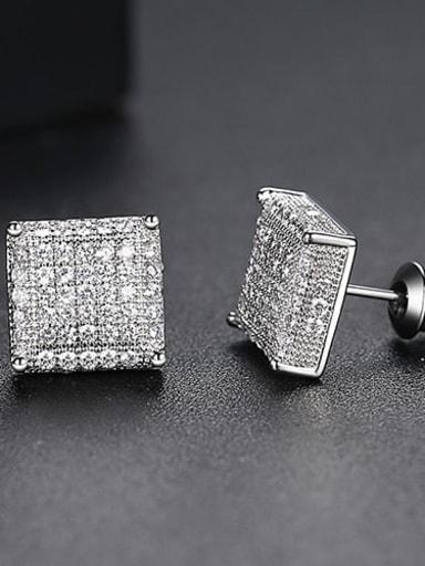 White zirconium platinum Copper Cubic Zirconia Square Dainty Stud Earring