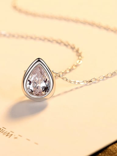Platinum 14f11 925 Sterling Silver Cubic Zirconia Water Drop Minimalist Necklace