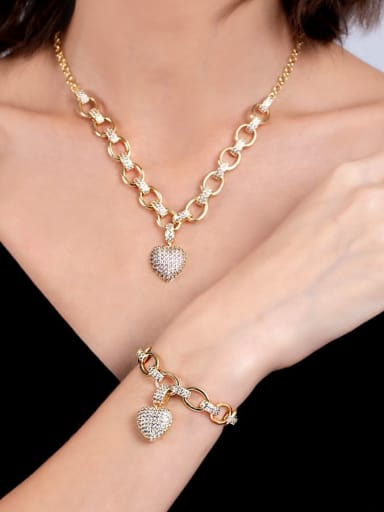 Gold necklace Brass Cubic Zirconia Luxury Heart Braclete and Necklace Set