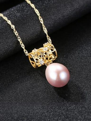 Purple 18K 6k05 925 Sterling Silver Freshwater Pearl Fashion irregular pendant  Necklace