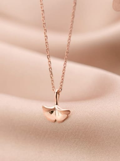 925 Sterling Silver smooth Leaf Minimalist  pendant Necklace