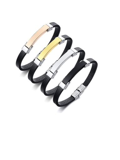 Titanium Black Leather Geometric Minimalist Band Bracelets