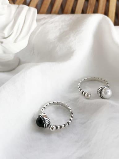 925 Sterling Silver Twist Twist Rope Imitation Pearl  minimalist  Free Size Band Ring