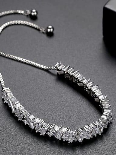 White zirconium plating platinum t14e17 Copper Cubic Zirconia Square Ethnic Link Bracelet