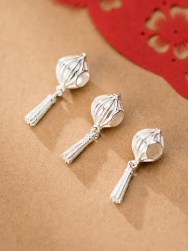 925 Sterling Silver With Tassel lantern  Pendant  DIY Jewelry Accessories
