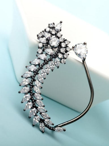 Gun black Copper Cubic Zirconia White Leaf Luxury Stud Earring